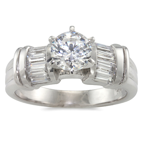 Lady's Diamond Engagement Ring - Baguettes - .66ct.