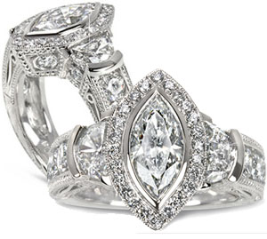 Antique Designs - Pave' Diamond Engagement / Wedding Ring Set