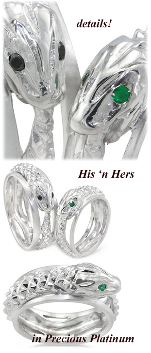 His n Hers Platinum Snake Wedding Rings at Elsa Wedding Rings